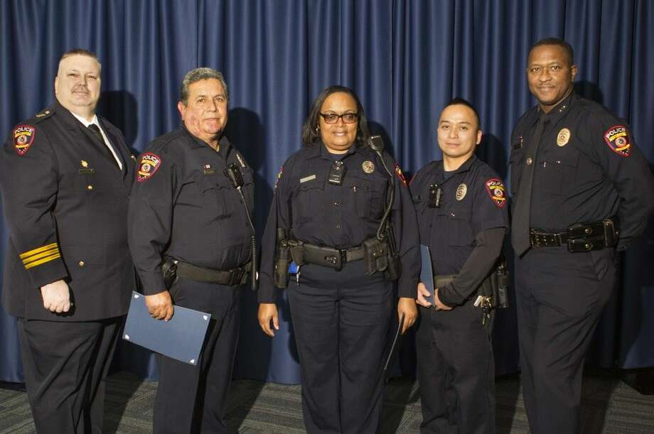 LSC Chief of Police Paul Willingham (pictured left) and LSC Deputy Chief Jerome Powell (right) awarded Officer Richard Huerta (second from left) the LSC Police Department Lifesaving Medal for resuscitating an unresponsive citizen. Officer Karen Curtis (center) and Officer Taun Nguyen were awarded Letters of Commendation for assisting in this life-saving effort.