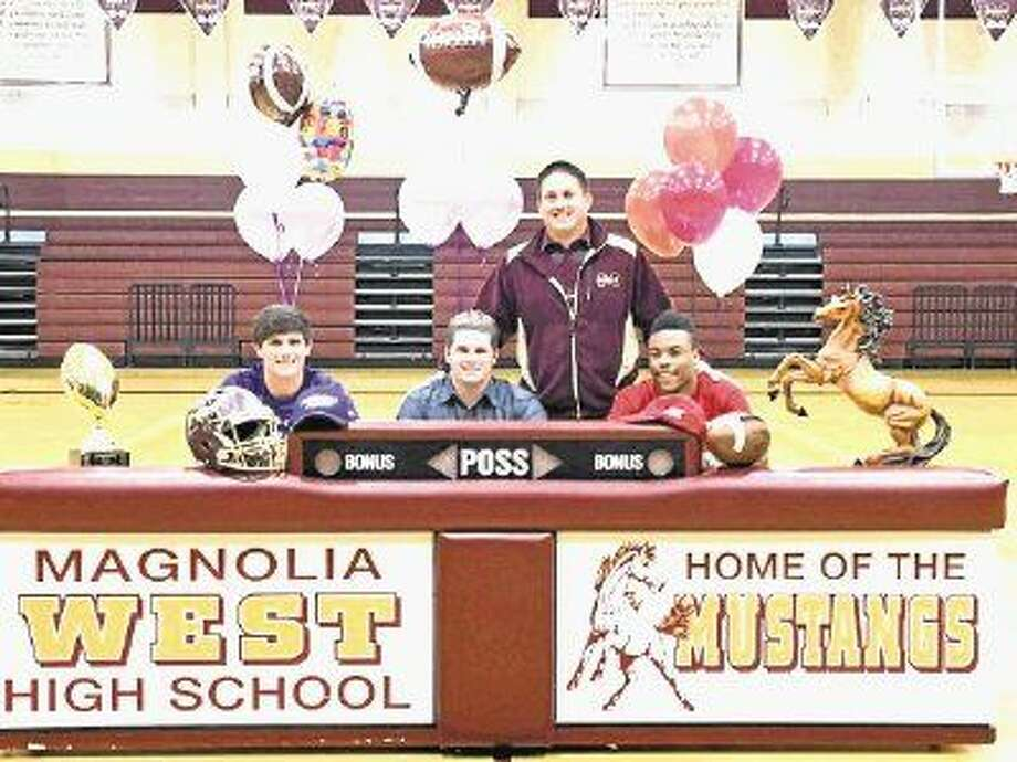 Magnolia West's Tyler Ferre (Stephen F. Austin), Mason Storrs (Millsaps College) and Damarren Mitchell (University of Louisiana Lafayette) signed National Letters of Intent. Photo: Submitted Photo
