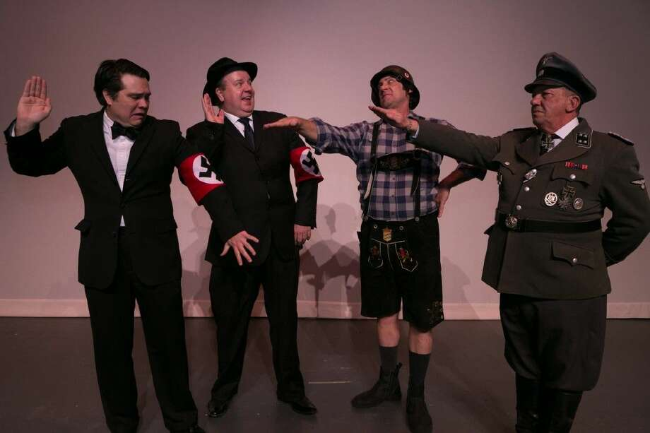 "Stage Right of Texas opens ""The Producers"" Friday at the Crighton Theatre. Pictured from left are Tim Eggert as Leo Bloom, Jeff Baldwin as Max Bialystock, Katt Gilcrease as Franz Leibkind and Dan Jackson as Gunter. Visit www.stage-right.org for ticket or call 936-441-7469. Photo: Michael Pittman"
