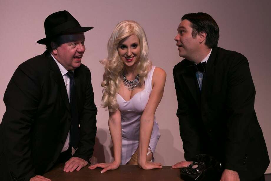 "Pictured from left to right are Jeff Baldwin as Max, Tim Eggert as Leo Bloom and Sara Preisler as Ulla in Stage Right's ""The Producers."" Photo: Michael Pittman"