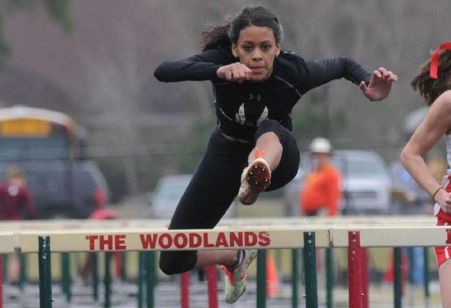Oak Ridge's Baylee Lara won the 100-meter hurdles at The Woodlands Invitational at The Woodlands High School on Saturday. Photo: Keith MacPherson