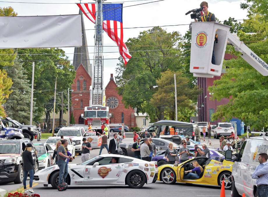 Crowds come out to see the filming of the TV reality series Fireball Run Thursday Sept. 29, 2016 in Ballston Spa, NY.  (John Carl D'Annibale / Times Union) Photo: John Carl D'Annibale / 40038205A