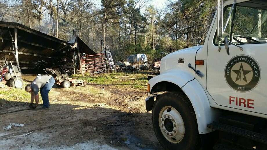 Montgomery County and Texas A&M Forest Service officials responded to a 17-acre grass and woods fire Tuesday off Mail Route Road.