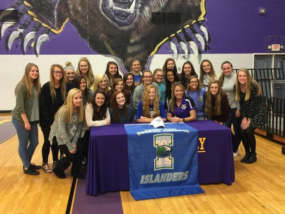 Montgomery girls soccer standout Katie Seabolt signed her National Letter of Intent with Texas A&M Corpus Christi on Wednesday. She is seen surrounded by her coaches and teammates.