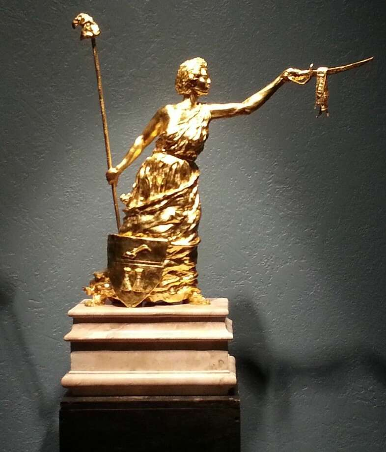 """A maquette titled, """"Texas Lady Liberty,"""" rendered in bronze with 23.75 karat gold gilding, which will be featured at the Grand Opening on March 7 of The Campobella Bronze Fine Art Studio, 227 N. Main Street, Conroe."""