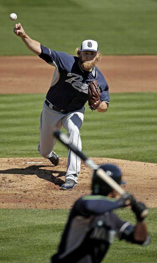 San Diego Padres starting pitcher Andrew Cashner, a graduate of Conroe High, throws to Seattle Mariners' Austin Jackson in Peoria, Ariz. Photo: Charlie Riedel
