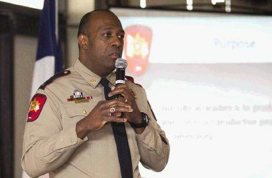 Montgomery County Sheriff's Office Lt. Kenneth Culbreath speaks during the Lake Conroe Area Republican Women meeting Thursday.