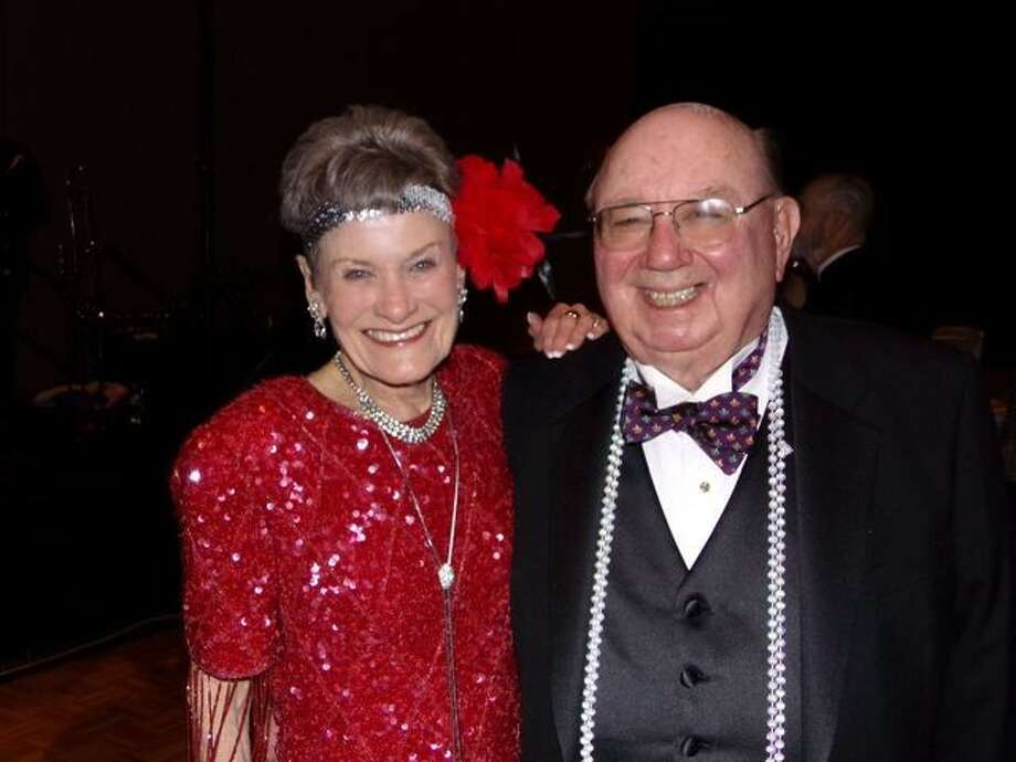 Shirley Pruitt, shown with husband Lee Pruitt, donned a red flapper outfit for the Montgomery County Performing Arts Society Ball Feb. 22 at The Woodlands Waterway Marriott Hotel. They have heavily supported the gala during its six years of fund raising for the nonprofit organization.