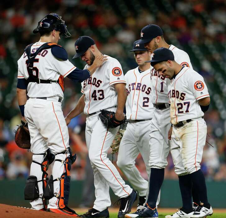 One of the Astros' major obstacles in 2016 was an incomplete season from Lance McCullers (43), who, after missing seven turns through the rotation to start the year, had to exit this Aug. 2 game and didn't pitch again.