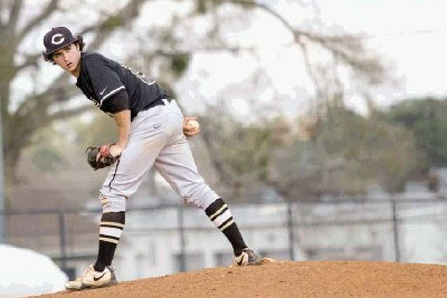 Conroe's Conner Ontiveros checks a runner during a game against Cypress Falls on Saturday afternoon at Ferrell Park at Elmore Field. To view or purchase this photo and others like it, visit HCNpics.com. Photo: Staff Photo By Ana Ramirez / The Conroe Courier