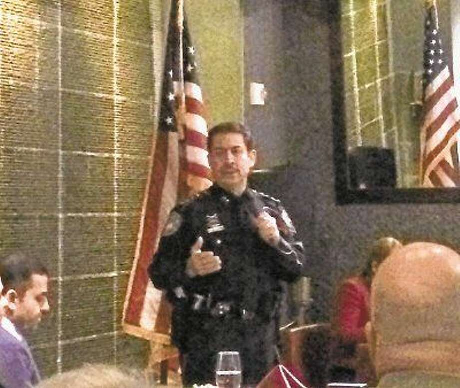 Harris County Sheriff Adrian Garcia speaks to the Montgomery County Hispanic Chamber of Commerce on Feb. 24 at Américas on The Woodlands Waterway.