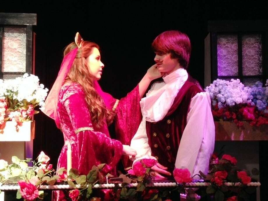 Isabella Ling and Spencer Clements act in Edmond Rostand's Cyrano de Bergerac, adapted into a one act play by I.E. Clark.