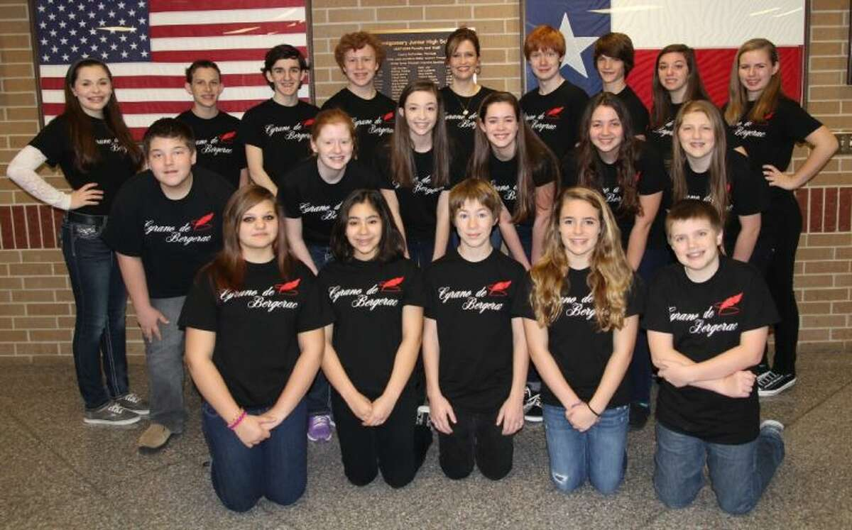 Montgomery Junior High drama students. Back row from left to right: Isabella Ling, Nick Reitz, Andrew Steward, Kenton Hignett, Heather Ling (director), Austin Smith, Spencer Clements, Casey Cramer, Lauren Cotton Middle row left to right: Kyle Rogers, Natalie Wagner, Madilyn Bradley, Hannah Barrum, Mary Haggerty, Tori Fincher Front row left to right: Miranda Irvine, Allison Rodriguez, Jake Carwile, Tori Vinzant and Tyler Childers