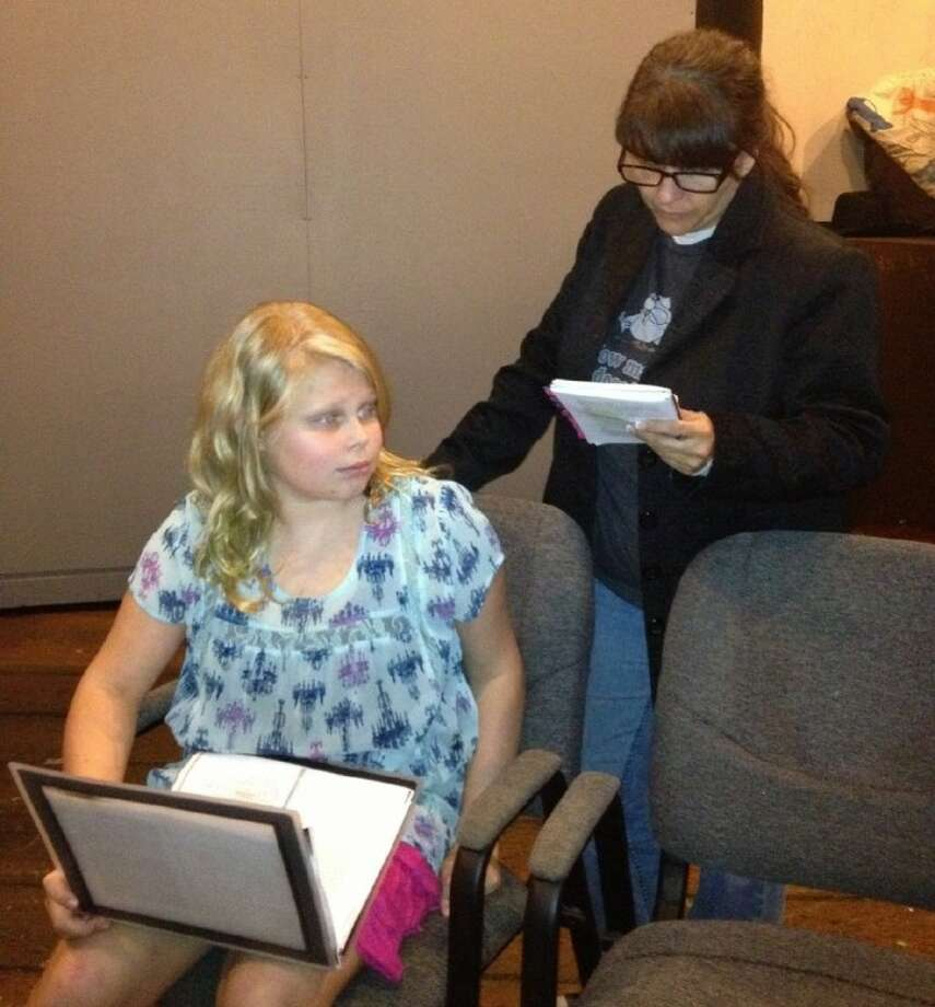 Hannah Wolken and Alane Johnson rehearse a scene from Spider's Web. Photo: SUBMITTED PHOTO