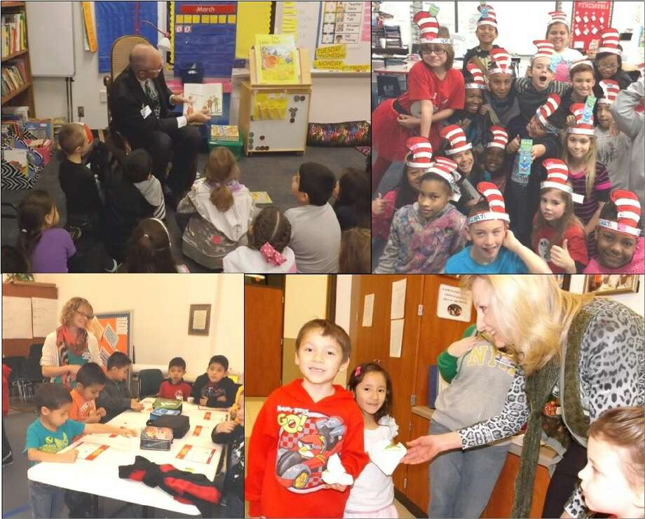The Conroe Noon Lions Club made rounds at Reaves Elementary School last week by reading to classes in honor of Dr. Seuss Day, handing out treats and playing Bingo during E-Club (Excellent Conduct).