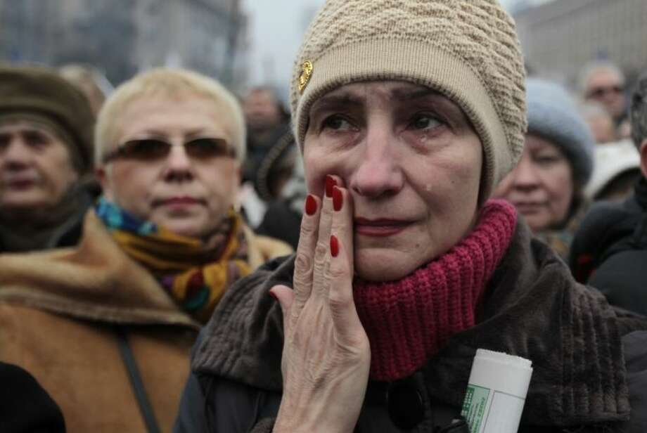 A woman reacts, during a rally in Kiev's Independence Square, Sunday, March 2, 2014. Photo: Sergei Chuzavkov