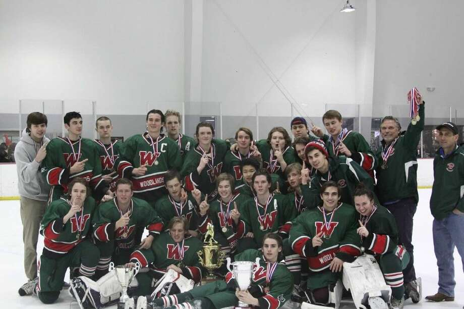 The Woodlands High School Ice Hockey team after their 4-1 victory over Cy Woods to claim the Houston Justice Cup.