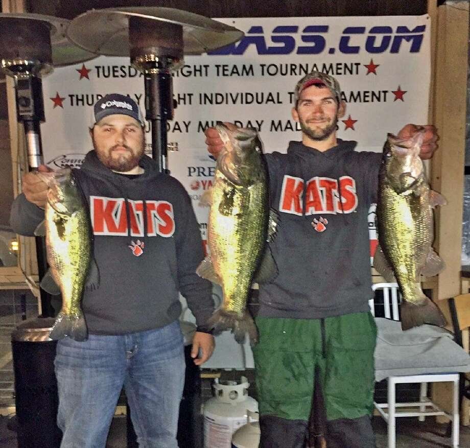 Colby Bryant and Lane Turner came in first place in the CONROEBASS Tuesday tournament with a total stringer weight of 15.53 pounds. They also had big bass that weighed 8.30 pounds.