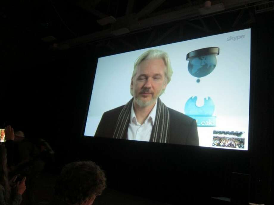 Fugitive WikLeaks founder Julian Assange speaks via Skype at the South By SouthWest Interactive festival in Austin Saturday. Assange's appearance underscores the increasing attention that the technology industry is paying to issues of online privacy, security and surveillance.