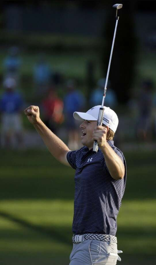 Jordan Spieth reacts after winning the Valspar Championship golf tournament on the third playoff hole. Photo: Chris O'Meara
