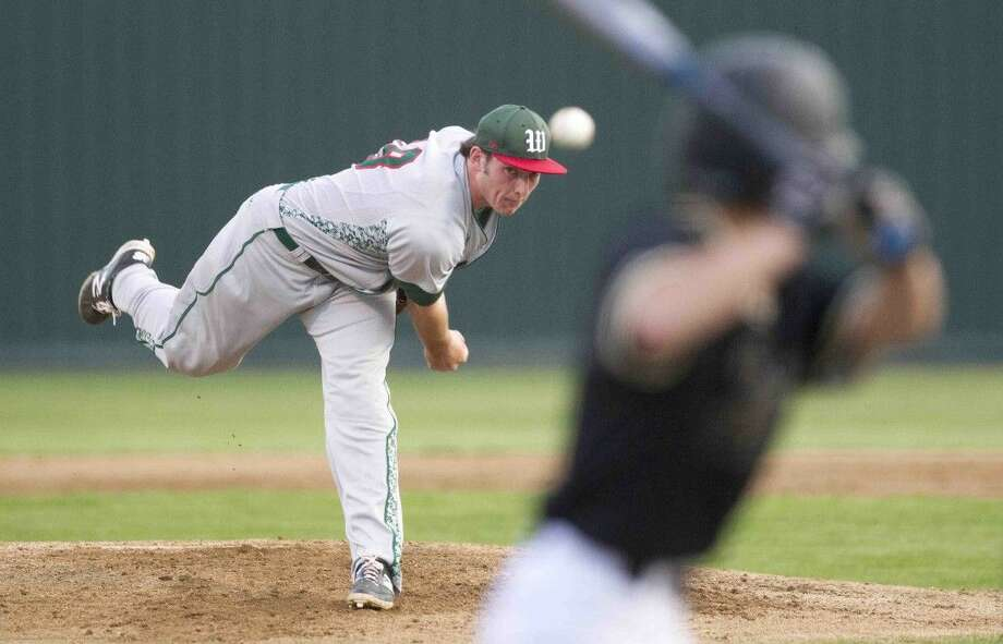 The Woodlands pitcher Chris Andritsos fired a two-hitter to defeat Conroe 4-0 on Tuesday night. To view or purchase this photo and others like it, visit HCNpics.com. Photo: Jason Fochtman