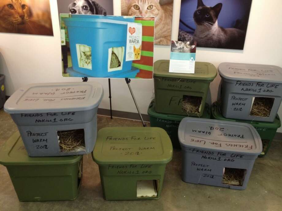 Feral cat shelters made by Friends for Life volunteers. Photo: Submitted