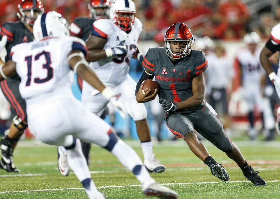 STOCK UPHeisman Trophy talk: While the Heisman appears to be Louisville quarterback Lamar Jackson's to lose, Greg Ward Jr. had a strong showing on national television with 389 passing yards and three touchdowns – and two rushing TDs - in a 42-14 rout of Connecticut. UH and Louisville meet Nov. 17 at TDECU Stadium in a game that could not only factor in the Heisman race but have playoff implications. Photo: Brett Coomer, Staff / © 2016 Houston Chronicle