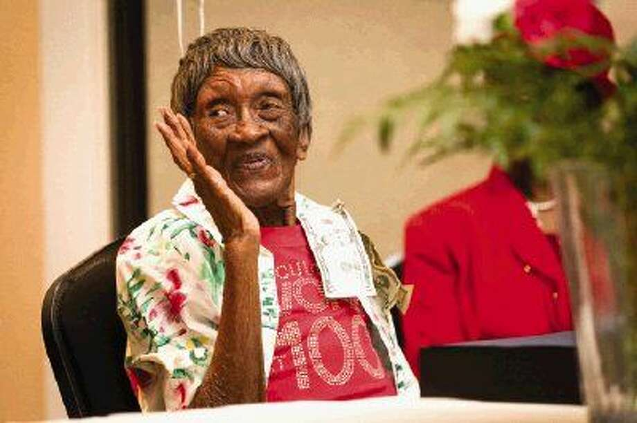 Willis resident Rachel Cleveland celebrates turning 100 years old at a party on Sunday at the North Montgomery Community Center. Photo: Michael Minasi