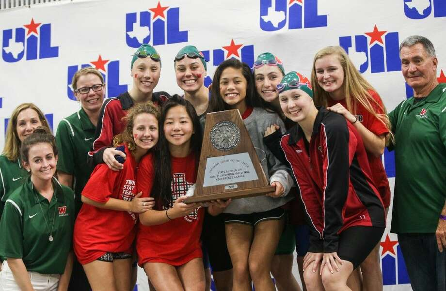 The Woodlands girls place second overall during the Class 6A finals of the UIL State Swimming & Diving Championships at the Lee and Joe Jamaul Texas Swimming Center. To view this photos and others like it from the championships, go to HCNPics.com. Photo: Michael Minasi