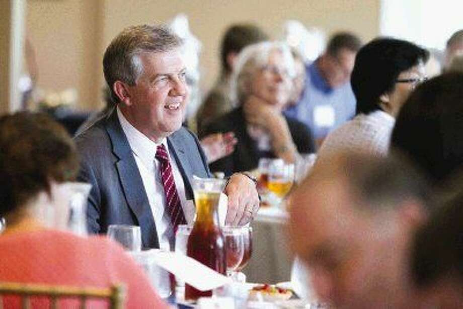 Montgomery County Judge Craig Doyal laughs during the Montgomery County Republican Women's meeting Thursday. Photo: Jason Fochtman