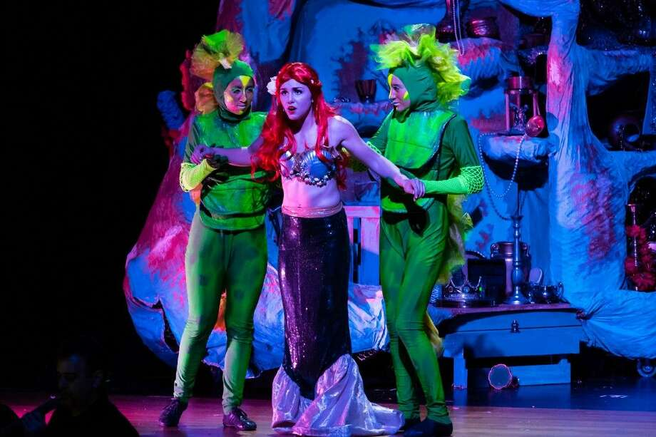 "Ariel, center, played by Jenny Gee in Class Act Production's ""The Little Mermaid."" The show continues Saturday and Sunday. Photo: Len Bates"