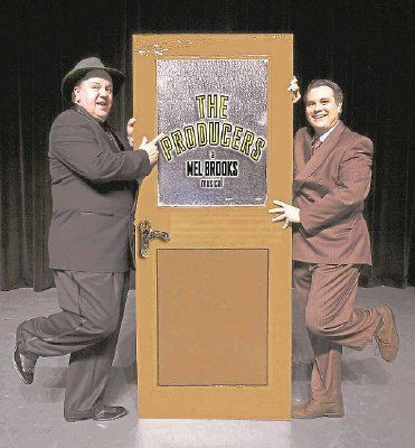 "Jeff Baldwin, left, as Max Bialystock and Tim Eggert as Leo Bloom in Stage Right's ""The Producers"" which has its last shows this weekend. Photo: Michael Pittman"