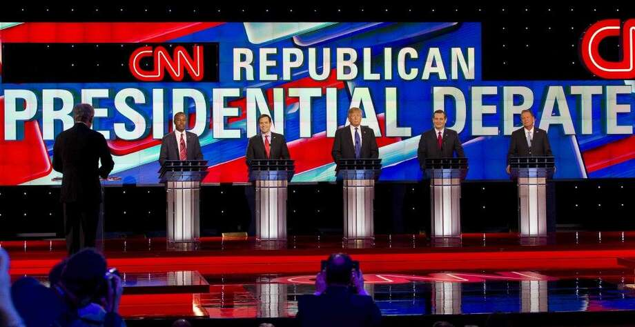 Republican presidential candidates Dr. Ben Carson, Marco Rubio, Donald Trump, Ted Cruz and Ohio Gov. John Kashich are seen during a Republican presidential primary debate at the University of Houston, Thursday in Houston. Photo: Jason Fochtman