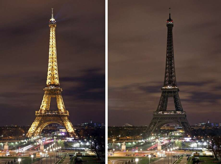 The Eiffel Tower with its usual lighting, left, and after the lighting was switched off for Earth Hour. Photo: Remy De La Mauviniere