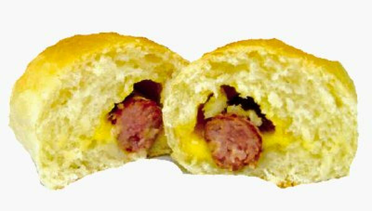 The sausage-filled kolache that you'll get in most bakeries and donut shops in the Houston area.