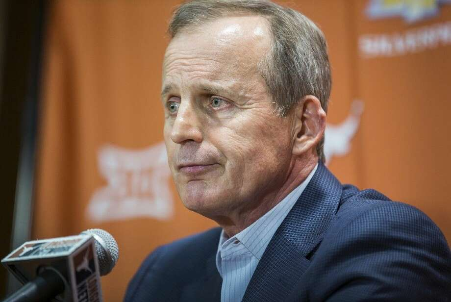 Fired Texas basketball coach Rick Barnes speaks during a news conference Sunday in Austin. Photo: RICARDO B. BRAZZIELL