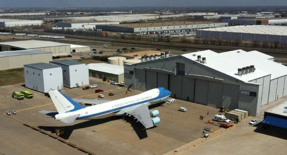 One of the planes used as Air Force One sits at a maintenance hangar at Meacham Airport in Fort Worth Thursday. A spokesperson said the plane is in Fort Worth for repainting as part of a year-long heavy maintenance cycle.