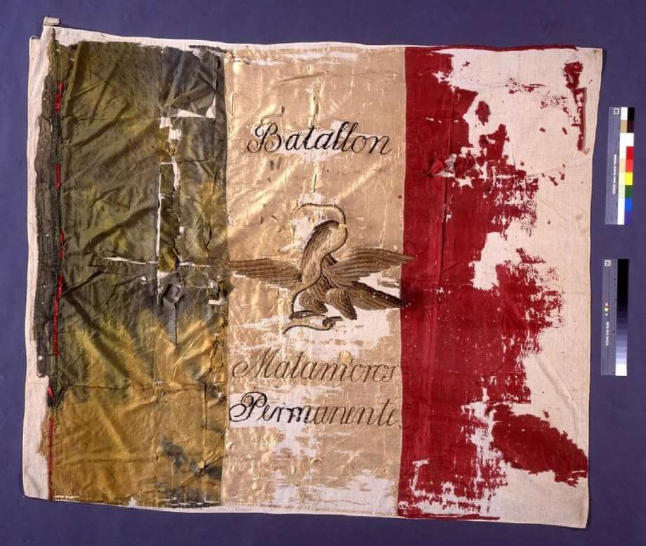 The Matamoros Battalion Flag was carried into battle during the Texas Revolution in 1836.