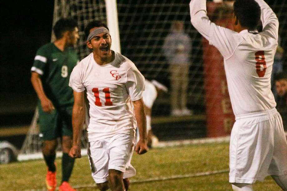 Caney Creek's Francisco Lopez celebrates after scoring a goal against Huntsville on Friday at Caney Creek High School. Photo: Michael Minasi