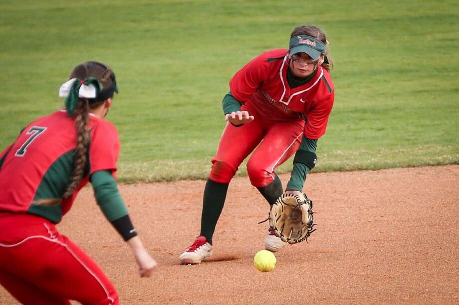 The Woodlands shortstop Aubrey Leach leads the Lady Highlanders in average (.650), at bats (60), runs scored (40), hits (39), OPS (1.795) and stolen bases (33) through 20 games. Photo: Michael Minasi