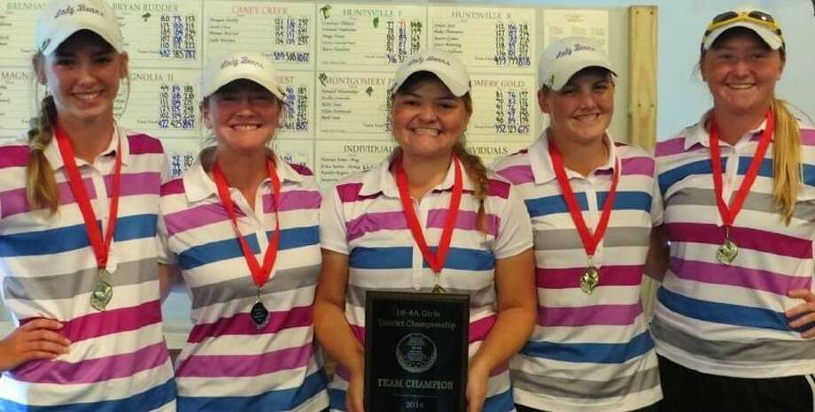 The Montgomery Purple team shot 627 to win the District 18-4A golf championship on Wednesday in Magnolia. Pictured from left to right are Reid Isaac (who shot 166), Ellen Hammond (161), Kallie Gonzales (155), Riley Isaac (158) and Kendall Wisenbaker (154).