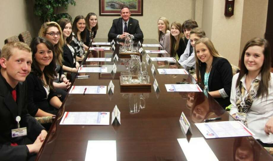 Two seniors from each high school in Conroe ISD that are interested in majoring in education participated in a job shadow with CISD Superintendent Dr. Don Stockton Friday. Pictured with Dr. Stockton are Hauke Academic Alternative High School students Destiny Sumner and Elizabeth Pritchett, Conroe High School students Hunter Berry and Katie Feagin, The Woodlands High School students Amanda Parrar and Brian Powell, Caney Creek High School students Katie Empringham and Megan McClure, Oak Ridge High School students Kailee Holland and Isabella Piano and The Woodlands College Park High School students Patrick Berry and Shelby DeVore.