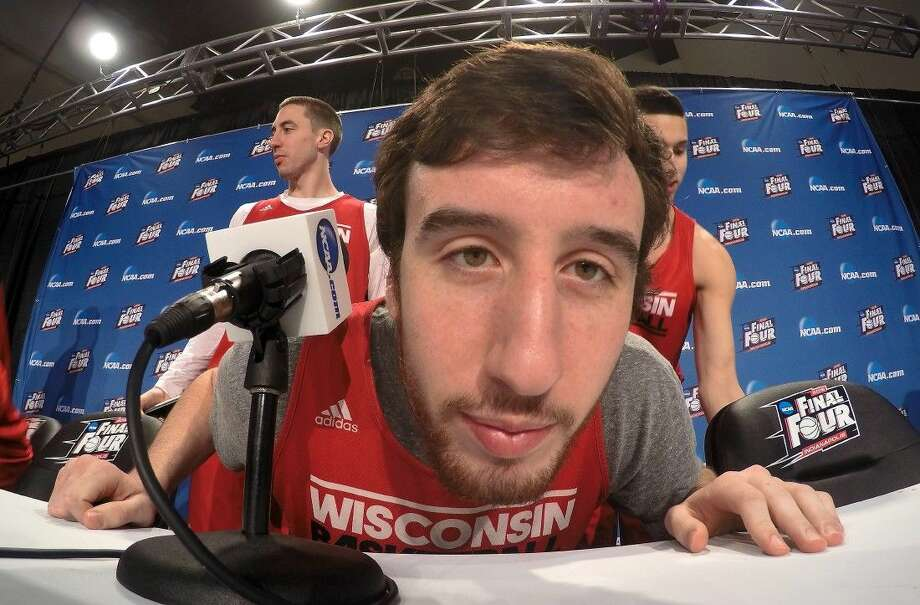 Wisconsin's Frank Kaminsky was in a playful mood during a news conference Sunday. Photo: Tim Donnelly