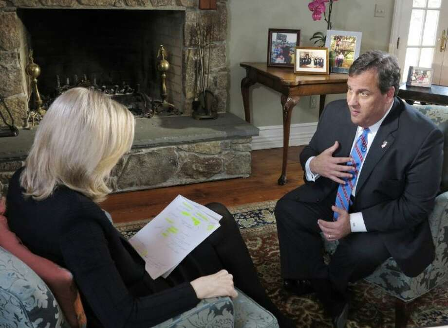 "In this photo provided by ABC News, ABC News' Diane Sawyer speaks exclusively to New Jersey Governor Chris Christie at his home in Mendham, N.J., Thursday, March 27, 2014. The Governor insisted that he ""did nothing to create the environment"" that prompted some of his former top aides to cause a traffic nightmare at the George Washington Bridge last fall. Portions of the interview aired on World News with Diane Sawyer and will also air on Nightline. Good Morning America Also plans to air some of the interview on Friday, March 28. Photo: Ida Mae Astute"