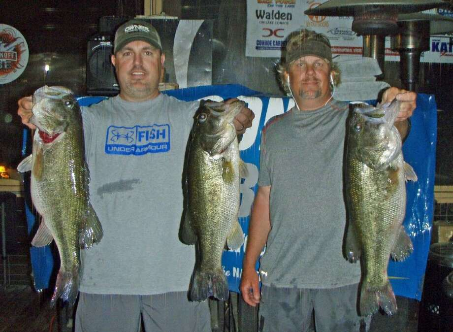 Charles Bebber and Kris Wilson came in first place in the Conroe Bass Tuesday tournament with a total stringer weight of 18.04 pounds.