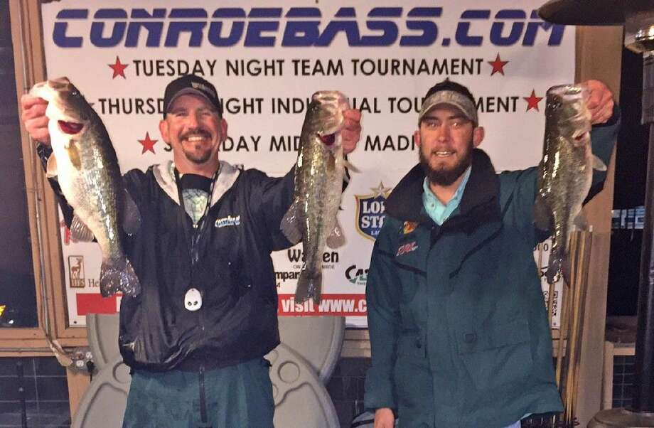 Julian Clepper and Colin Huffman came in first place in the CONROEBASS Tuesday tournament with a total stringer weight of 9.39 pounds. They also had big bass that weighed 4.30 pounds.
