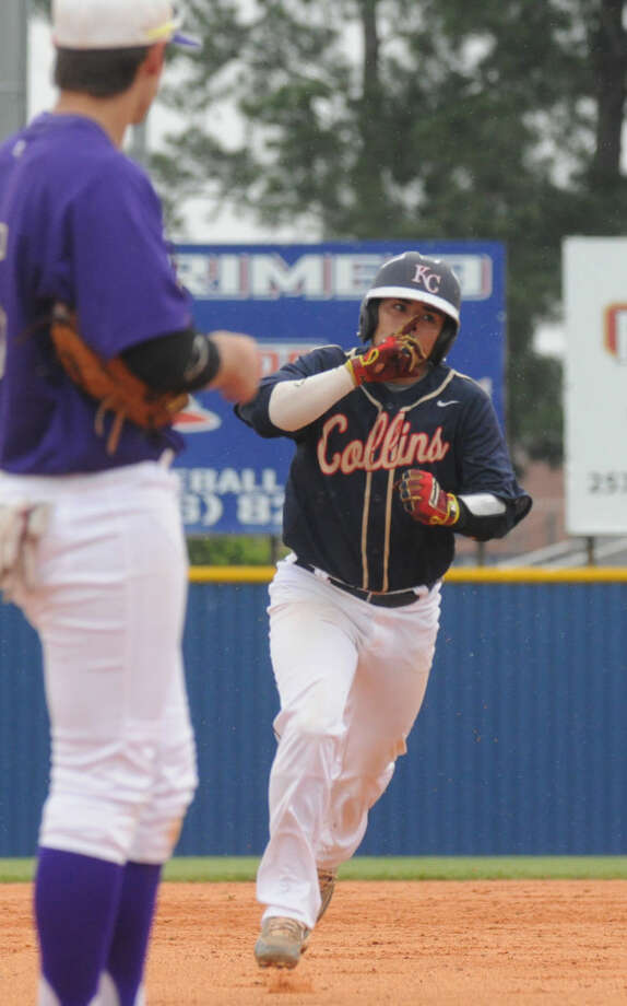Klein Collins' Jacob Rodriguez rounds the bases after hitting a home run against Montgomery in a District 15-6A contest on Saturday at Klein Collins High School. Photo: Keith MacPherson