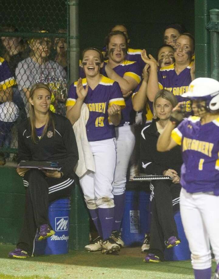Montgomery players react during a Lady Bears' rally in their 10-3 victory over Magnolia West on Friday night. Montgomery claimed first place in District 18-4A. Photo: Jason Fochtman