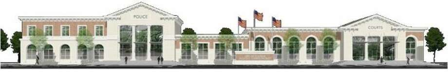 An artist rendering of the new Conroe Police station.