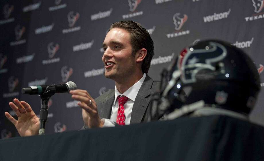 New Texans quarterback Brock Osweiler speaks to the media during a press conference Thursday. Photo: Jason Fochtman